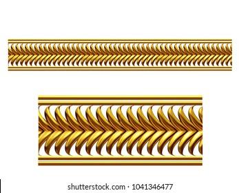 "golden, ornamental segment, ""frond"", straight version for frieze, frame or border. 3d illustration, separated on white"
