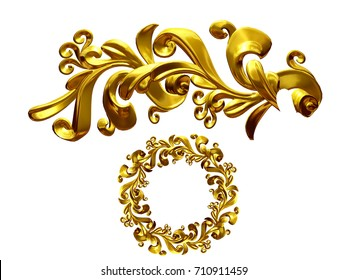 """golden ornamental segment, """"growth"""", round version for ninety degree angle corners or frames. 3D illustration, separated on white"""