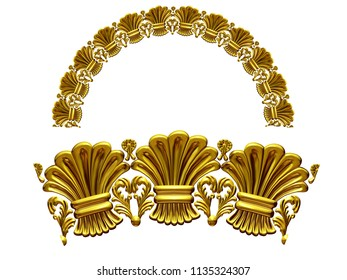 """golden ornamental segment, """"hay"""", round version, fourty-five degree angle, for corner or circle, 3d Illustration, separated on white"""