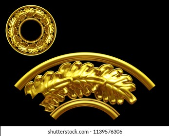 "golden ornamental segment, ""leaf series"", round version, ninety degree angle, for corner or circle, 3d Illustration, separated on black"