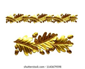 "golden, ornamental segment, ""oak leaf"", straight version for frieze, frame or border. 3d illustration, separated on white"