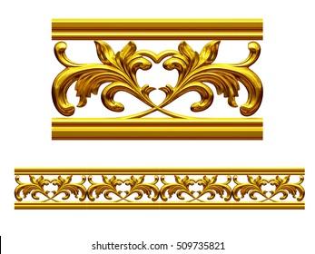 """golden, ornamental segment, """"Leaf"""", straight version for frieze, frame or border, 3d Illustration"""