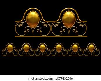 "golden, ornamental segment, ""oval"", straight version for frieze, frame or border. 3d illustration, separated on black"