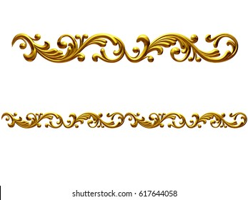 "golden, ornamental segment, ""playful"", straight version for frieze, frame or border. 3d illustration, separated on black"