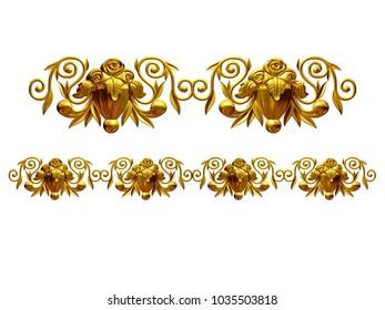 "golden, ornamental segment, ""rose"", straight version for frieze, frame or border. 3d illustration, separated on white"