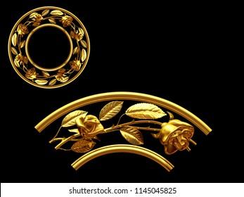 "golden ornamental segment, ""roses"", round version, ninety degree angle, for corner or circle, 3d Illustration, separated on black"