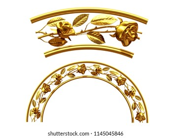 """golden ornamental segment, """"roses"""", round version, fourty-five degree angle, for corner or circle, 3d Illustration, separated on white"""