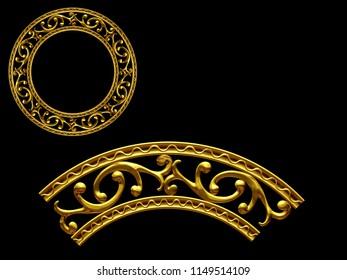 "golden ornamental segment, ""jump"", round version, ninety degree angle, for corner or circle, 3d Illustration, separated on black"