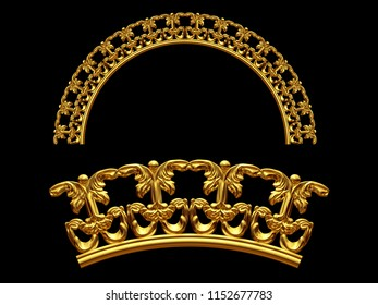 """golden ornamental segment, """"equilateral"""", round version, fourty-five degree angle, for corner or circle, 3d Illustration, separated on black"""