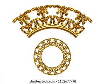 """golden ornamental segment, """"equilateral"""", round version, ninety degree angle, for corner or circle, 3d Illustration, separated on white"""