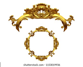 """golden ornamental segment, """"Victory"""", round version, ninety degree angle, for corner or circle, 3d Illustration, separated on white"""