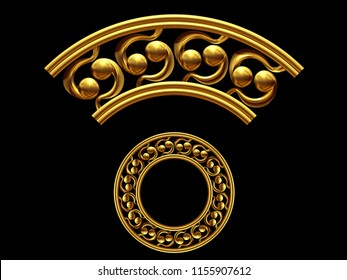 """golden ornamental segment, """"sixtynine"""", round version, ninety degree angle, for corner or circle, 3d Illustration, separated on black"""