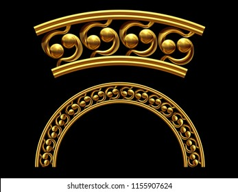 """golden ornamental segment, """"sixtynine"""", round version, fourty-five degree angle, for corner or circle, 3d Illustration, separated on black"""