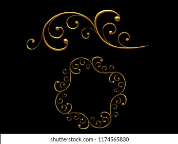 """golden ornamental segment, """"swell"""", round version, ninety degree angle, for corner or circle, 3d Illustration, separated on black"""