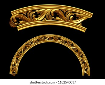 """golden ornamental segment, """"motion"""", round version, fourty-five degree angle, for corner or circle, 3d Illustration, separated on black"""