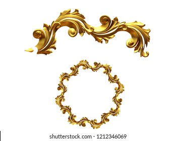 golden ornamental segment, round version, ninety degree angle, for corner or circle, 3d Illustration, separated.