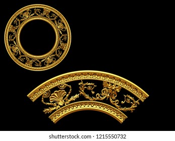 golden ornamental segment, round version, ninety degree angle, for corner or circle, 3d Illustration. There is matching a straight and fourty-five degree version with the search term: Ludwig
