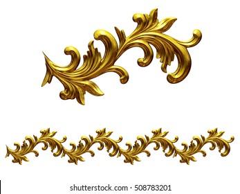 "golden, ornamental segment, ""Slalom"", straight version for frieze, frame or border, 3d Illustration"