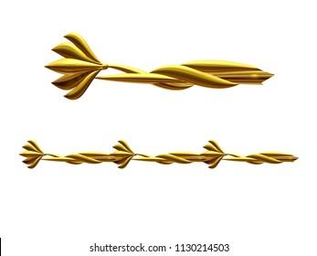 "golden, ornamental segment, ""bloom"", straight version for frieze, frame or border. 3d illustration, separated on white"