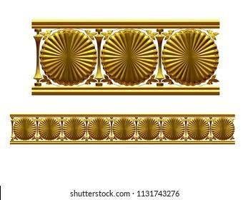 "golden, ornamental segment, ""cookies"", straight version for frieze, frame or border. 3d illustration, separated on white"