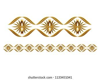 "golden, ornamental segment, ""droplet"", straight version for frieze, frame or border. 3d illustration, separated on white"