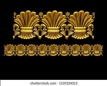 "golden, ornamental segment, ""hay"", straight version for frieze, frame or border. 3d illustration, separated on black"