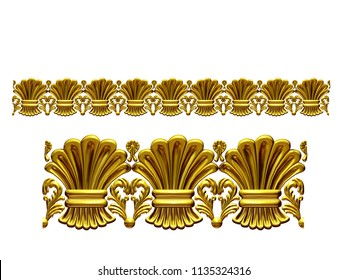 "golden, ornamental segment, ""hay"", straight version for frieze, frame or border. 3d illustration, separated on white"