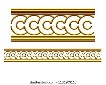"golden, ornamental segment, ""button"", straight version for frieze, frame or border. 3d illustration, separated on white"