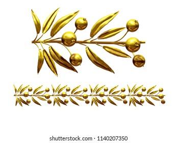 "golden, ornamental segment, ""berry"", straight version for frieze, frame or border. 3d illustration, separated on white"