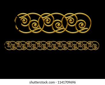 "golden, ornamental segment, ""slalom"", straight version for frieze, frame or border. 3d illustration, separated on black"