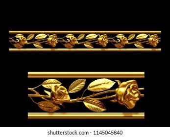 "golden, ornamental segment, ""roses"", straight version for frieze, frame or border. 3d illustration, separated on black"