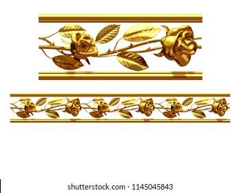 """golden, ornamental segment, """"roses"""", straight version for frieze, frame or border. 3d illustration, separated on white"""