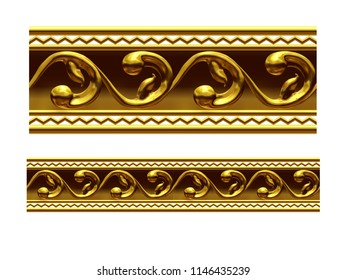 "golden, ornamental segment, ""zigzag"", straight version for frieze, frame or border. 3d illustration, separated on white"