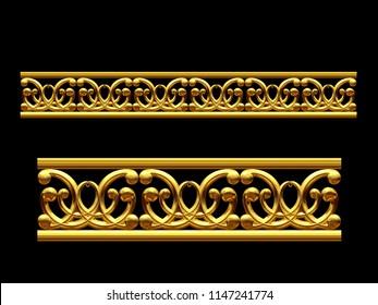 "golden, ornamental segment, ""curlicue"", straight version for frieze, frame or border. 3d illustration, separated on"