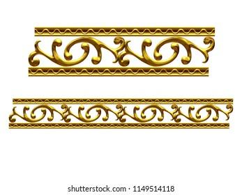 "golden, ornamental segment, ""jump"", straight version for frieze, frame or border. 3d illustration, separated on white"