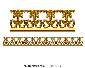 """golden, ornamental segment, """"equilateral"""", straight version for frieze, frame or border. 3d illustration, separated on white"""