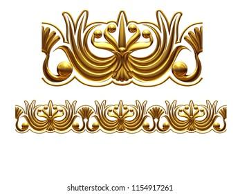 "golden, ornamental segment, ""edged"", straight version for frieze, frame or border. 3d illustration, separated on white"