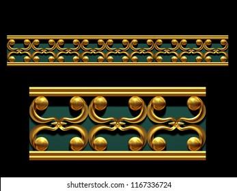 """golden, ornamental segment, """"backcloth"""", straight version for frieze, frame or border. 3d illustration, separated on black"""