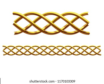 "golden, ornamental segment, ""helix"", straight version for frieze, frame or border. 3d illustration, separated on white"