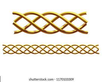 """Golden, Ziersegment, """"helix"""", gerade Version für Fries, Rahmen oder Rahmen. 3D-Illustration einzeln auf Weiß"""