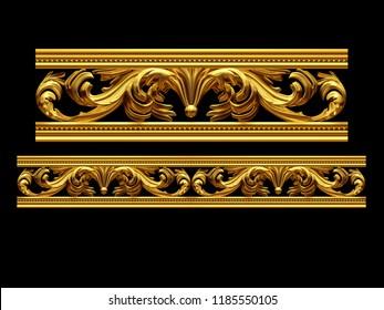 "golden, ornamental segment, ""rock"", straight version for frieze, frame or border. 3d illustration, separated on black"