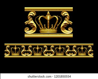 """golden, ornamental segment, """"crown"""", straight version for frieze, frame or border. 3d illustration, separated on black, (See also fourty five degree curve version of """"crown"""")"""