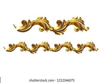 golden, ornamental segment, straight version for frieze, frame or border. 3d illustration, separated.