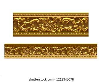 Golden, Ziersegment, gerade Version für Fries, Rahmen oder Rahmen. 3D-Illustration einzeln auf Weiß