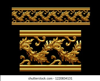 golden, ornamental segment, straight version for frieze, frame or border. 3d illustration.  There is matching a ninety and fourty-five degree version with the search term: bush