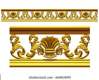 "golden, ornamental segment, ""symmetry"", straight version for frieze, frame or border. 3d illustration, separated on white"