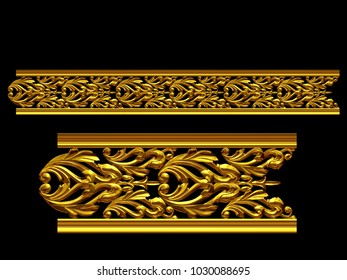 "golden, ornamental segment, ""tends"", straight version for frieze, frame or border. 3d illustration, separated on black"