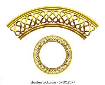 "golden ornamental segment, ""twins heart"", round version, ninety degree angle, for corner or circle, 3d Illustration"