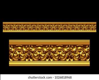"golden, ornamental segment, ""virtue"", straight version for frieze, frame or border. 3d illustration, separated on black"