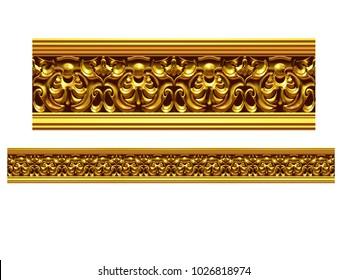 "golden, ornamental segment, ""virtue"", straight version for frieze, frame or border. 3d illustration, separated on white"
